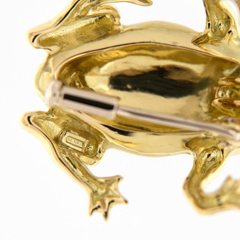 Women's Italian Gold Enamel Frog Pin or Pendant For Sale