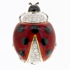 Italian Enameled Ladybug Diamond Gold Brooch