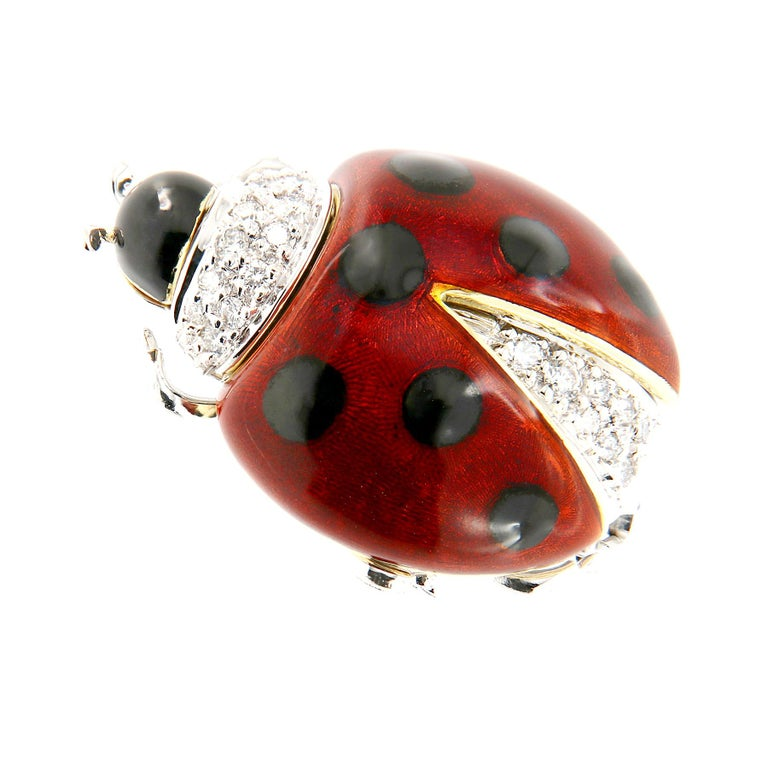 Italian Enameled Ladybug Diamond Gold Brooch In New Condition For Sale In Troy, MI