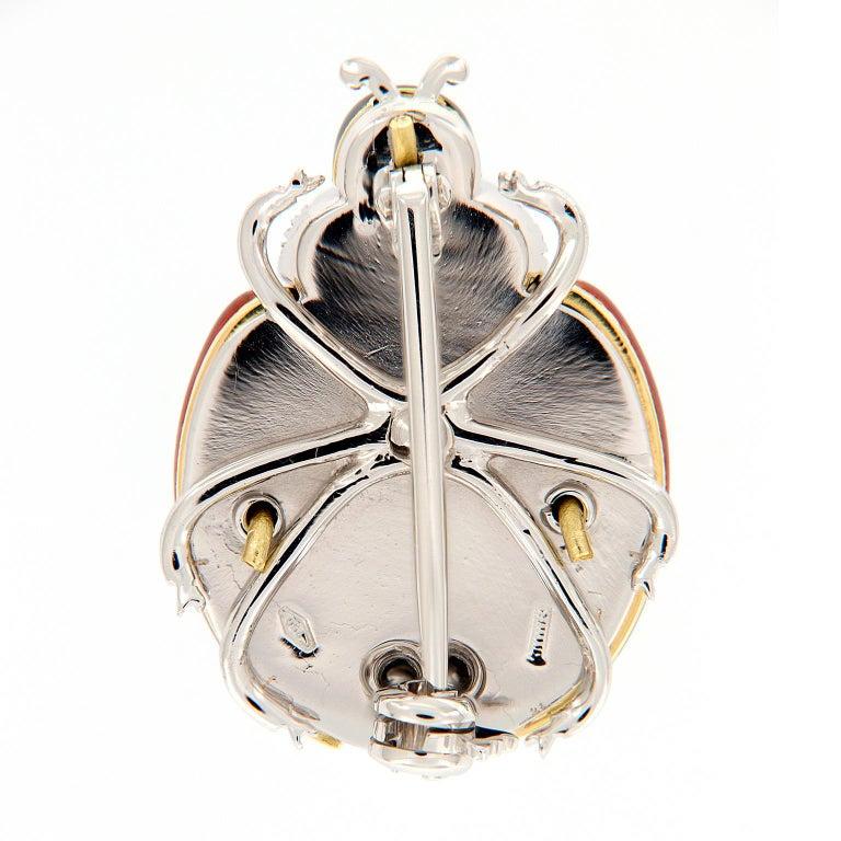 Women's Italian Enameled Ladybug Diamond Gold Brooch For Sale