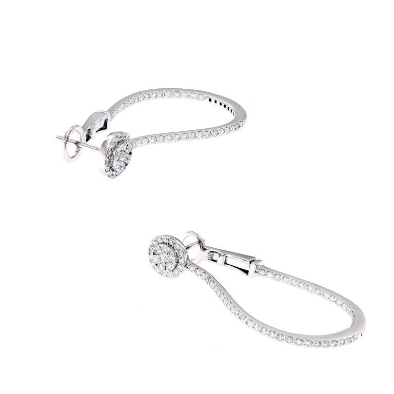 Inside Out Diamond Oval Hoop Gold Earrings For Sale