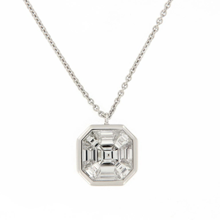 Asscher Diamond Pendant Gold Necklace