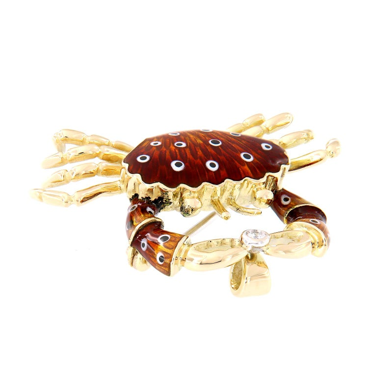 Italian Gold Enamel Crab Diamond Brooch or Pendant In New Condition For Sale In Troy, MI