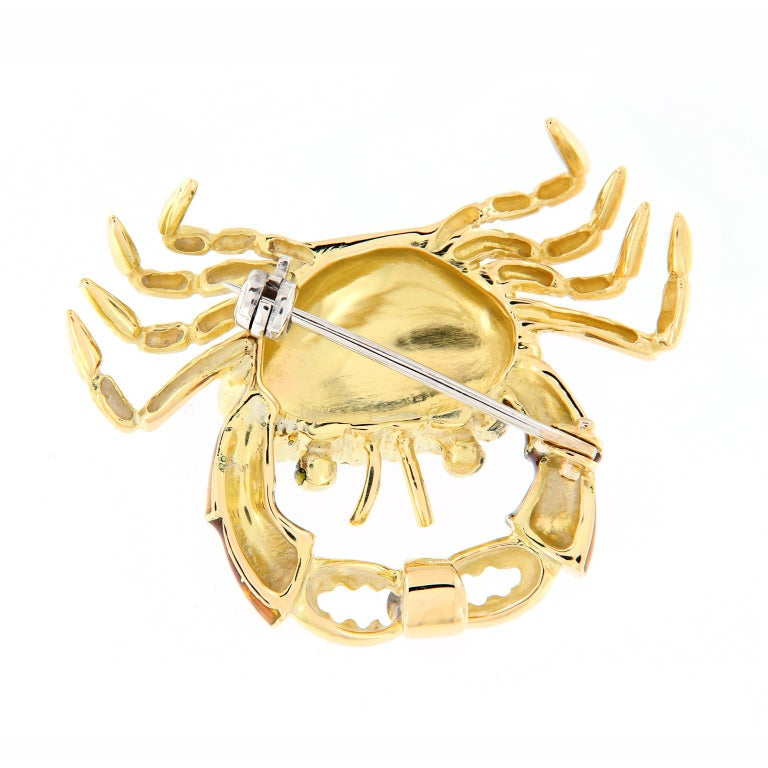 Women's Italian Gold Enamel Crab Diamond Brooch or Pendant For Sale