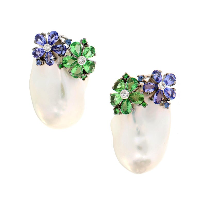 Baroque Pearl Diamond Colored Gemstone Earrings