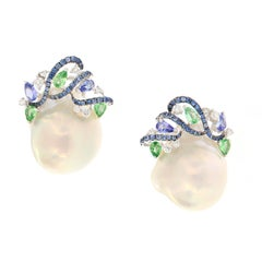 Baroque Pearl Diamond Garnet Sapphire Earrings