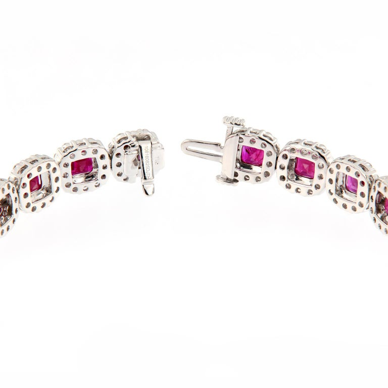 Ruby Diamond Gold Bracelet In New Condition For Sale In Troy, MI