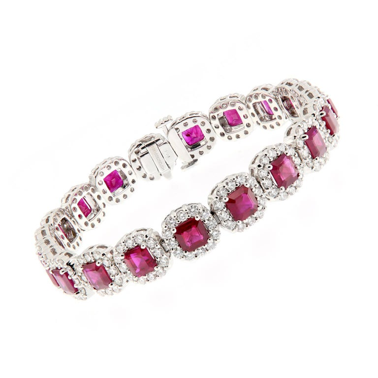 Ruby Diamond Gold Bracelet For Sale