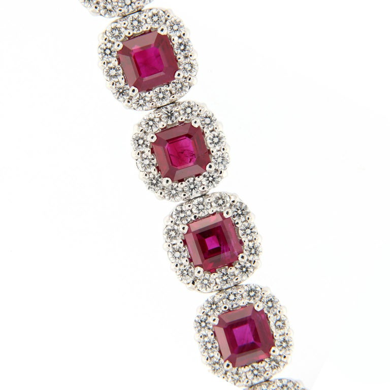 Women's Ruby Diamond Gold Bracelet For Sale