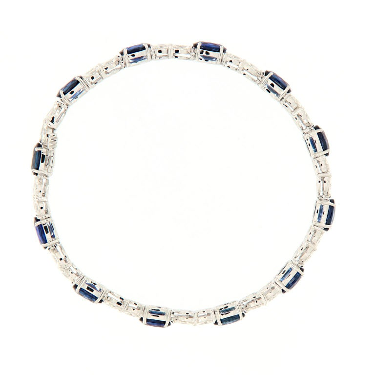 Marquise Cut Oval Sapphire Marquise Diamond Gold Bracelet For Sale