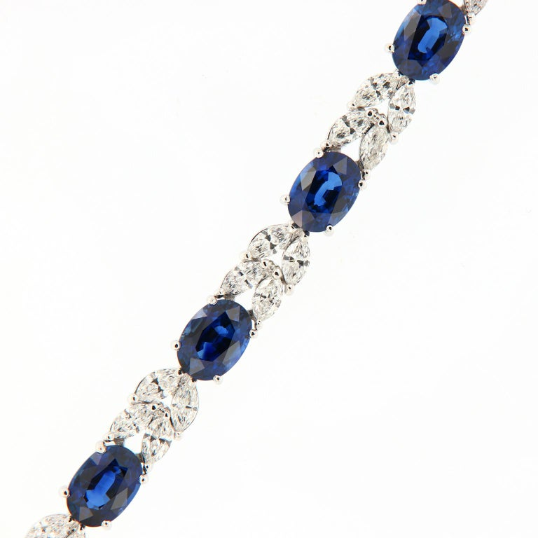 Oval Sapphire Marquise Diamond Gold Bracelet In New Condition For Sale In Troy, MI