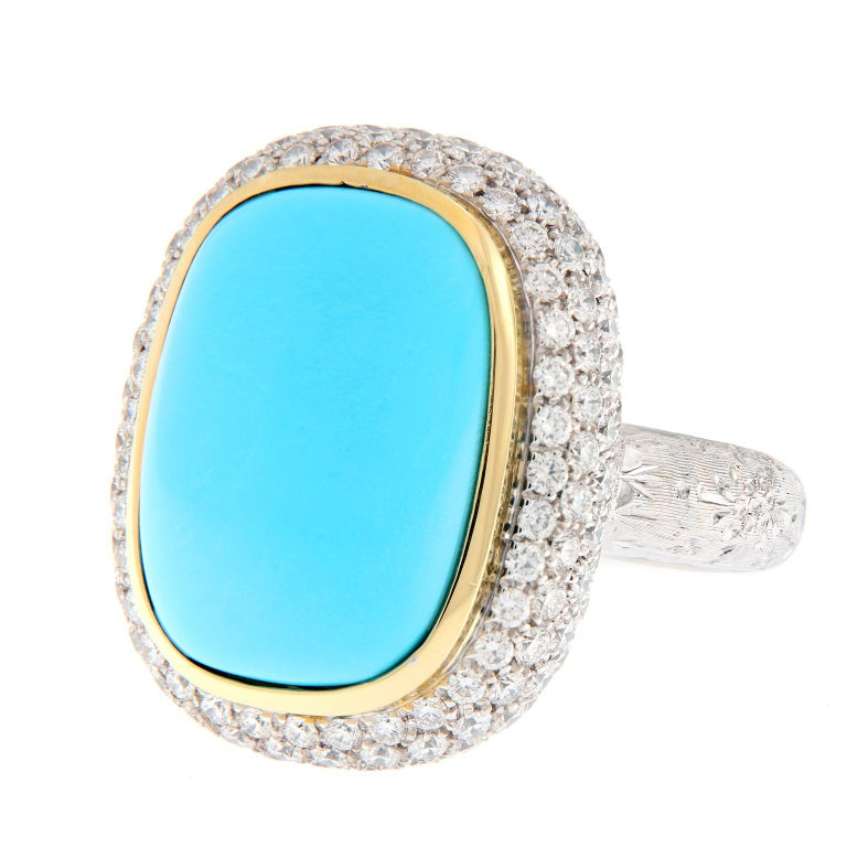 Teri Turquoise Diamond Gold Cocktail Ring For Sale