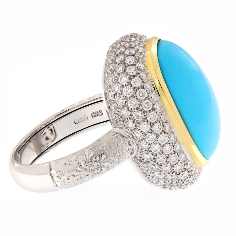 Teri Turquoise Diamond Gold Cocktail Ring In New Condition For Sale In Troy, MI