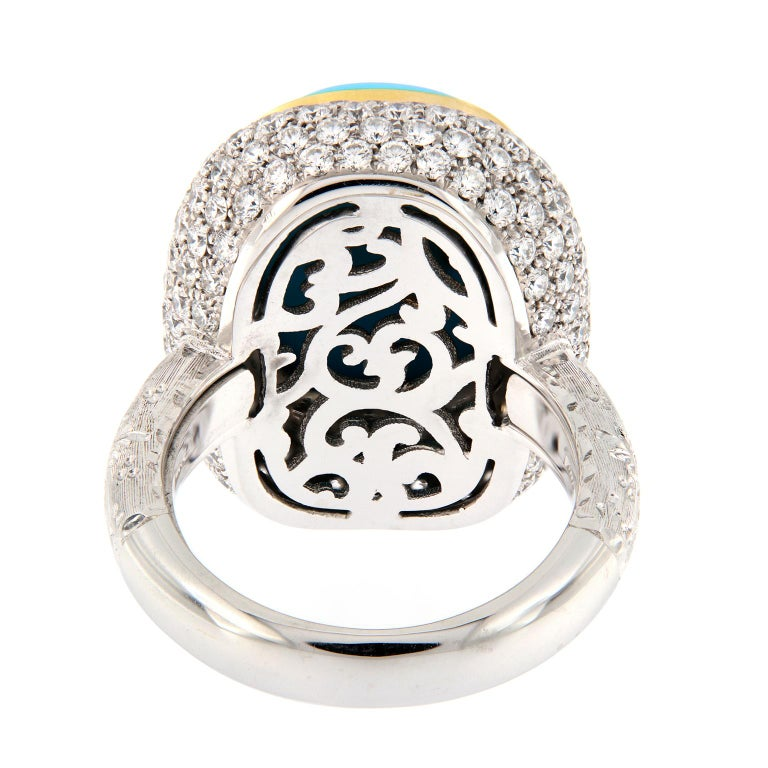 Teri Turquoise Diamond Gold Cocktail Ring For Sale 1