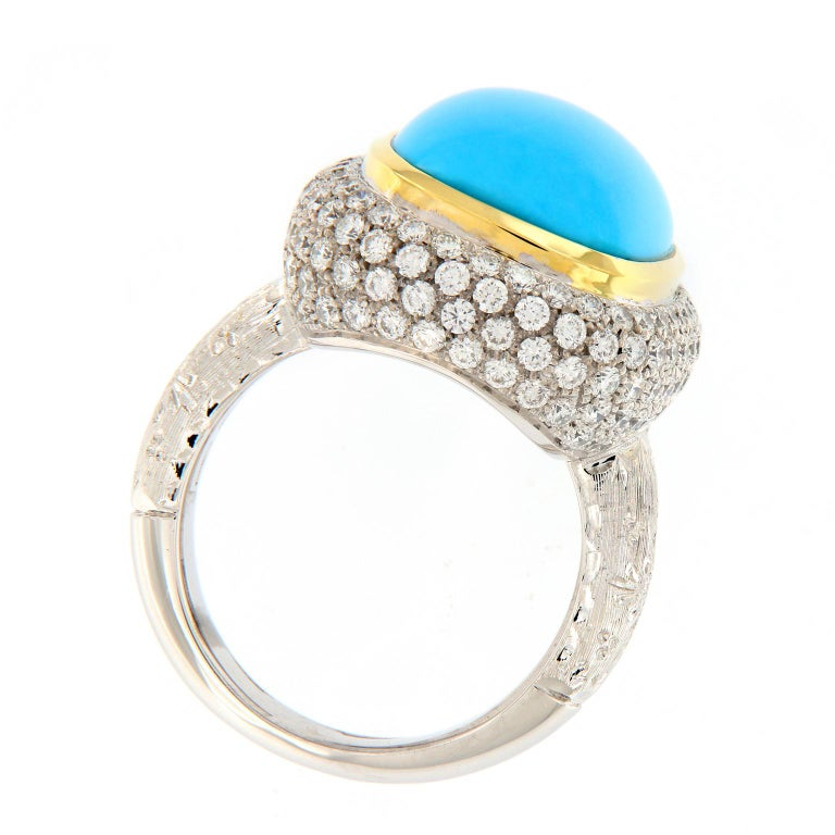Women's Teri Turquoise Diamond Gold Cocktail Ring For Sale