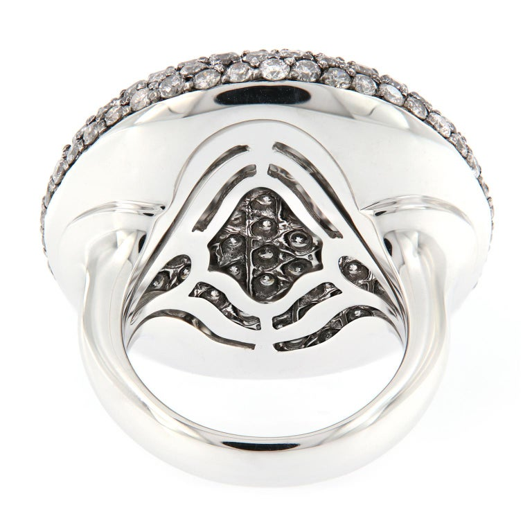 Scheffel Fancy Grey Diamond Cluster Dome Cocktail Ring For Sale 1