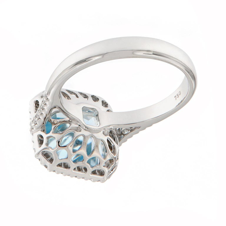 Women's Aquamarine Diamond White Gold Cocktail Ring For Sale