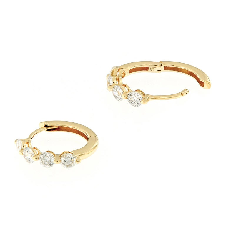Round Cut Diamond Yellow Gold Huggy Hoop Earrings For Sale