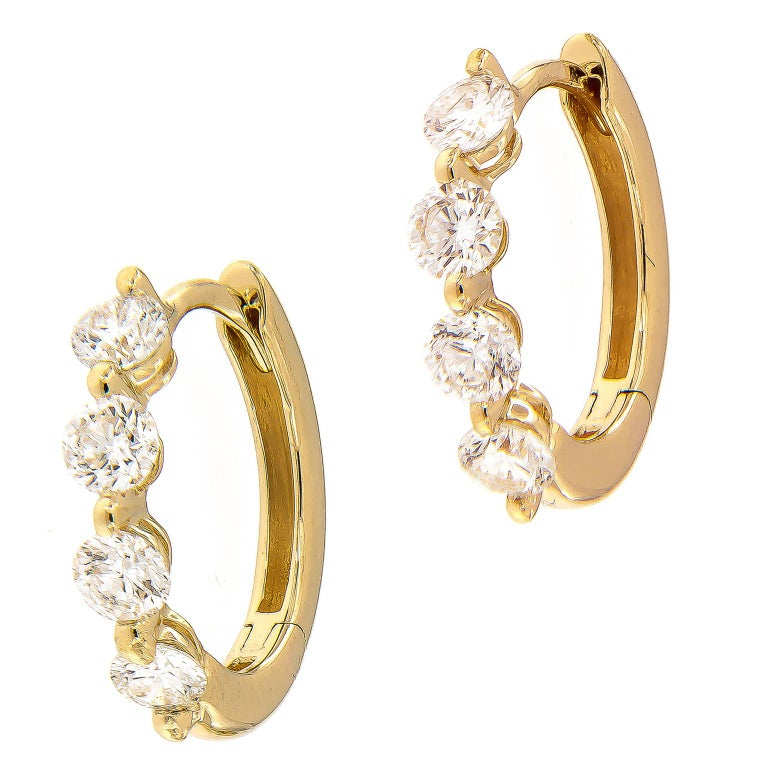 Diamond Yellow Gold Huggy Hoop Earrings For Sale