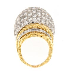 Hammerman Brothers Diamond Platinum Gold Dome Cocktail Ring