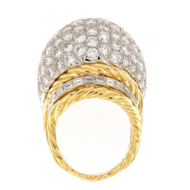 Hammerman Brothers Diamond Platinum Gold Dome Cocktail Ring For Sale