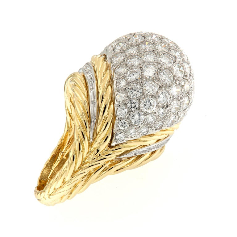 Hammerman Brothers Diamond Platinum Gold Dome Cocktail Ring In Excellent Condition For Sale In Troy, MI