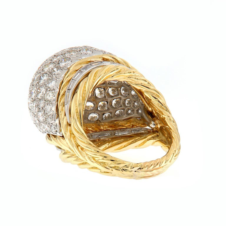 Women's Hammerman Brothers Diamond Platinum Gold Dome Cocktail Ring For Sale