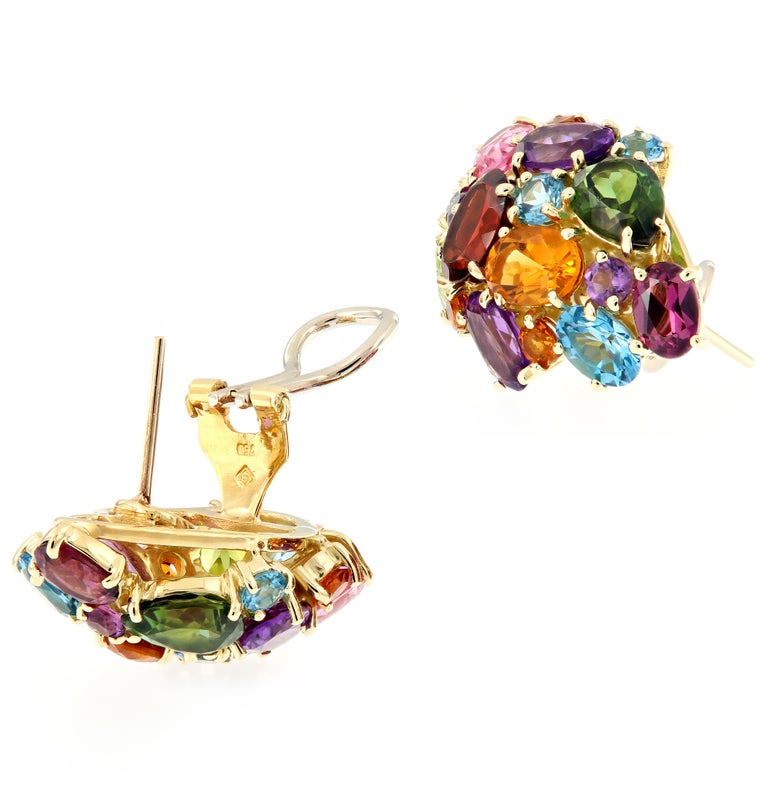 Women's Multi Gemstone Cluster Yellow Gold Earrings For Sale
