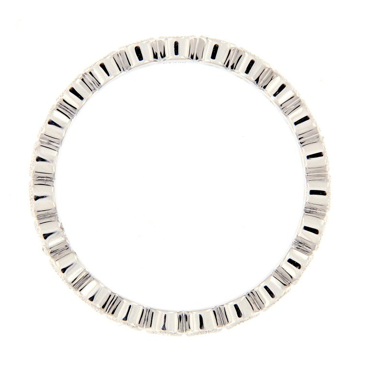 Platinum Bezel Set Diamond Eternity Ring In New Condition For Sale In Troy, MI