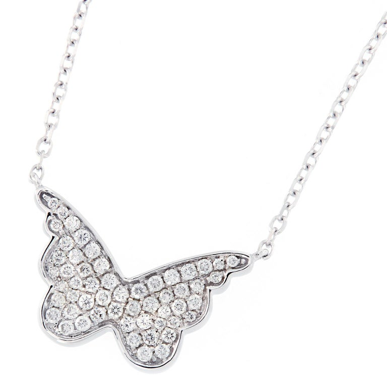 Diamond White Gold Butterfly Pendent Necklace