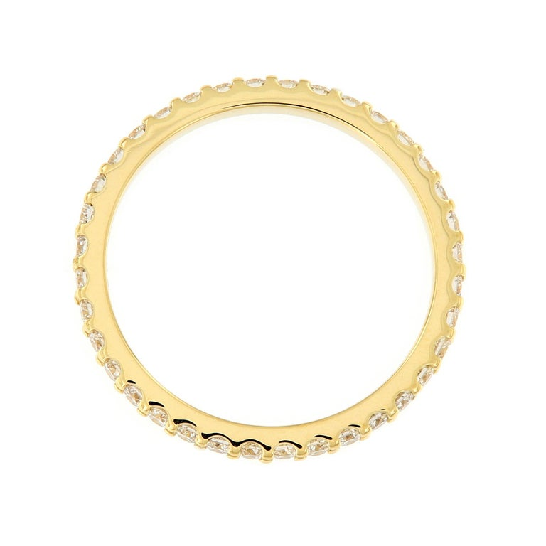 Diamond Eternity Yellow Gold Band Ring In New Condition For Sale In Troy, MI