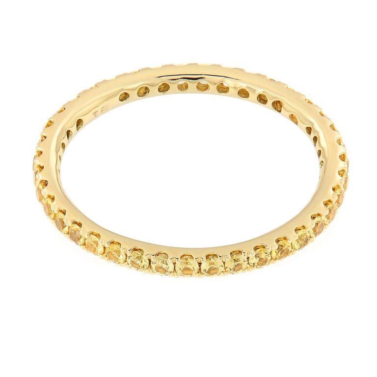 Women's Yellow Sapphire Eternity Gold Band Ring For Sale