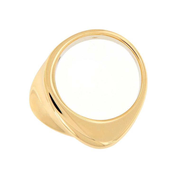 This wide band ring is a soft-looking shape that is unobtrusive, yet has a pleasing quality. Ring is expertly crafted in 18k yellow gold by Scheffel of Germany. Weighs 17 grams. Ring Size 7.  Marked Scheffel