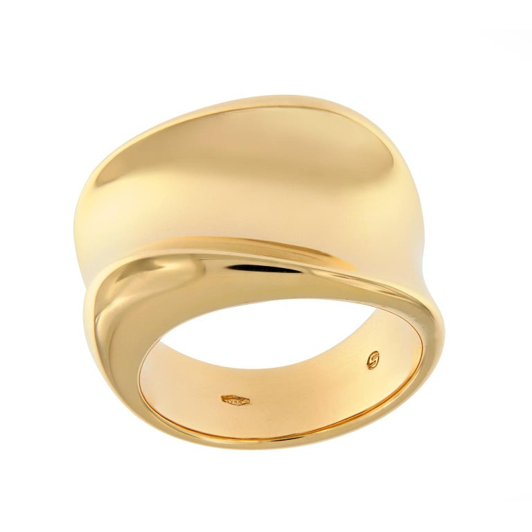 Scheffel Wide Band Yellow Gold Fashion Ring For Sale
