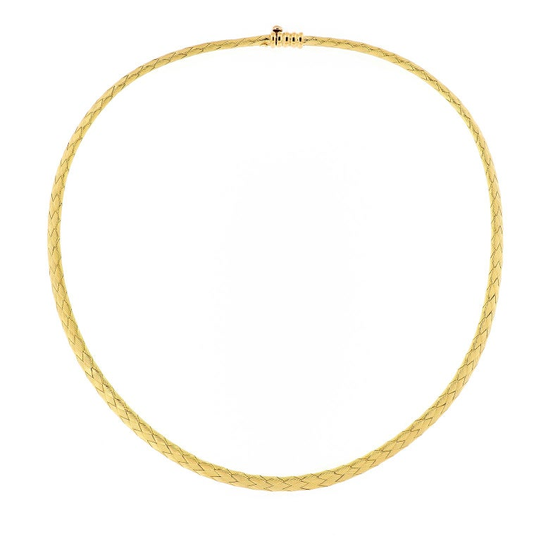 Vergano Woven Yellow Gold Necklace For Sale