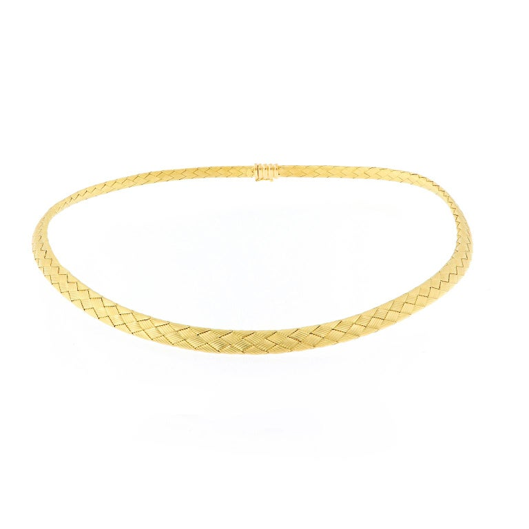 Vergano Woven Yellow Gold Necklace In New Condition For Sale In Troy, MI