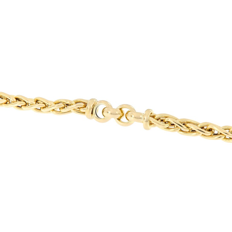 Vergano Woven Link Yellow Gold Necklace In New Condition For Sale In Troy, MI
