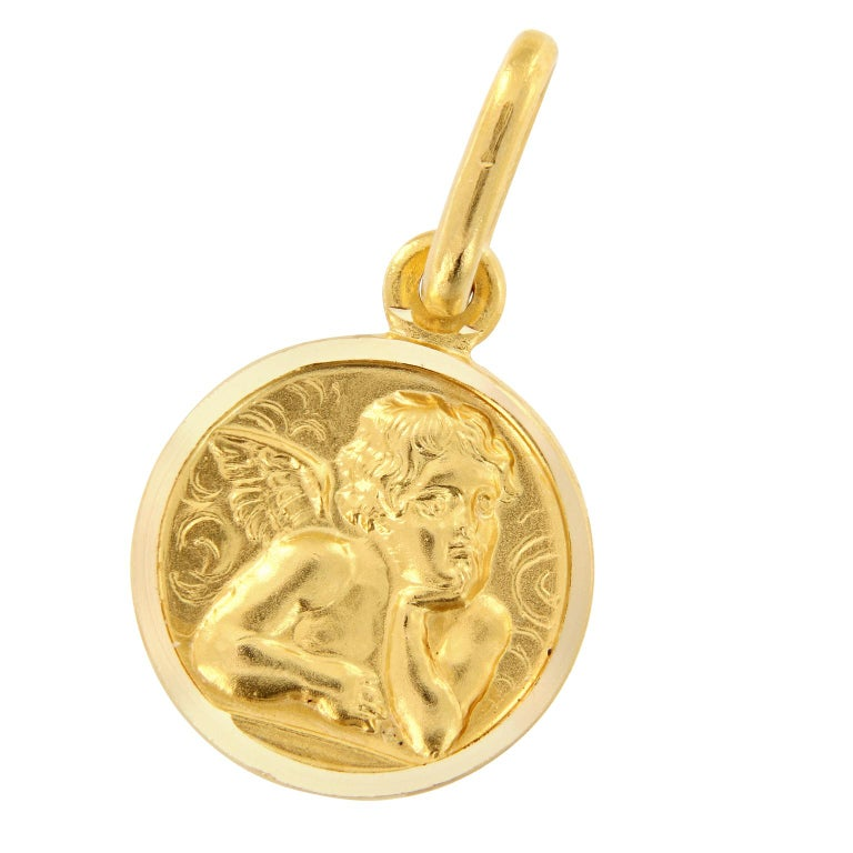 Italian 18 Karat Yellow Gold Angel Coin Charm For Sale