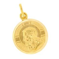 Italian 18 Karat Yellow Gold Jesus Charm Pendant