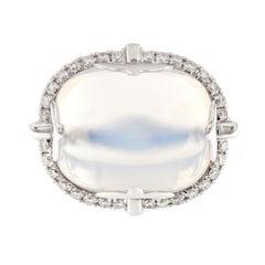 "Goshwara ""Rock-N-Roll"" Cabochon Moon Quartz Diamond Ring"
