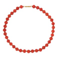Mediterranean Coral Beaded Gold Necklace