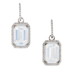"Goshwara ""Gossip"" Moon Quartz Diamond Earrings"