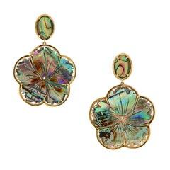"Goshwara ""Innate"" Carved Abalone Yellow Gold Earrings"