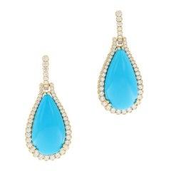 """Goshwara """"G-One"""" Turquoise Diamond Drop Earrings, 18 Karat Yellow Gold"""