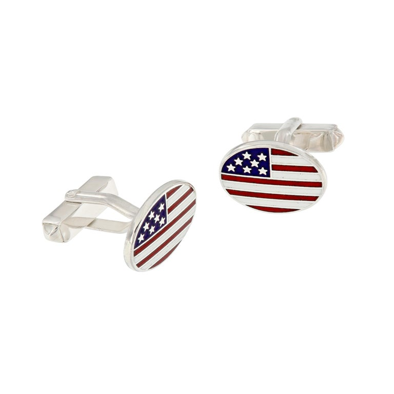 Sterling Silver Guilloche Enamel USA Flag Cuff Links
