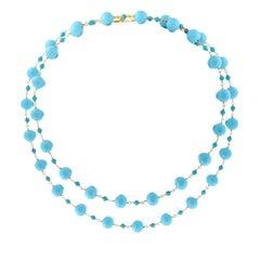 "Goshwara ""Beyond"" Natural Sleeping Beauty Turquoise Beaded Chain Necklace"