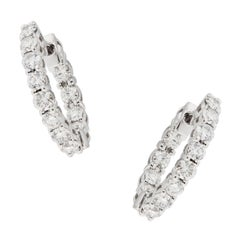 Diamond Inside-Out White Gold Hoop Earrings