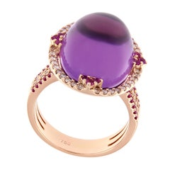 Cabochon Amethyst Pink Sapphire Diamond Rose Gold Cocktail Ring