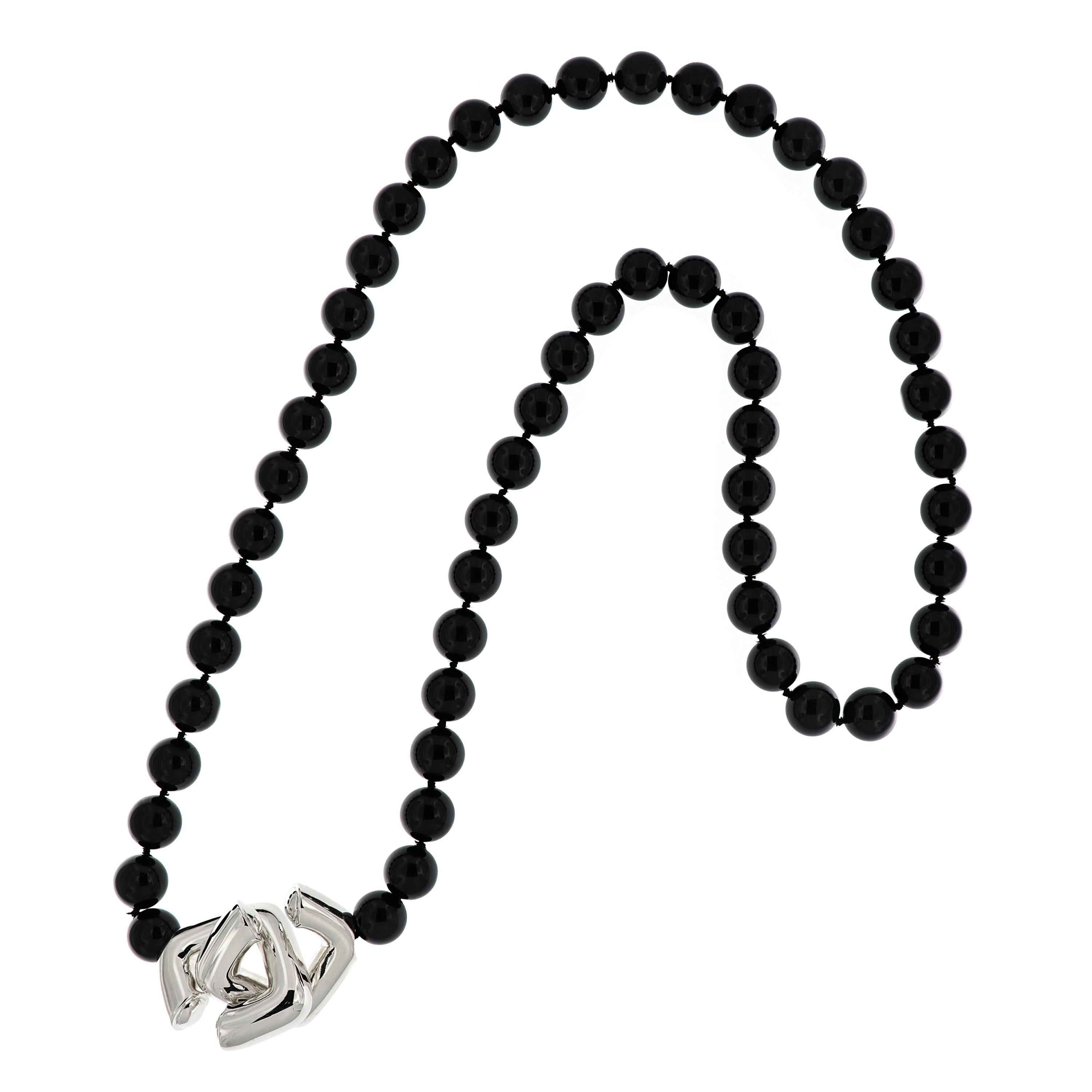 7ca96c3aa Tiffany and Co. Paloma Picasso Sterling Silver Onyx Bead Necklace at 1stdibs