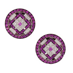 Pink Sapphire Diamond Button Earrings